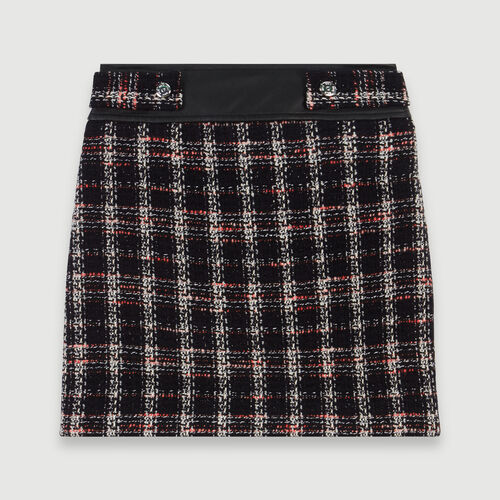 Tweed-style contrast pencil skirt : Winter collection color Black