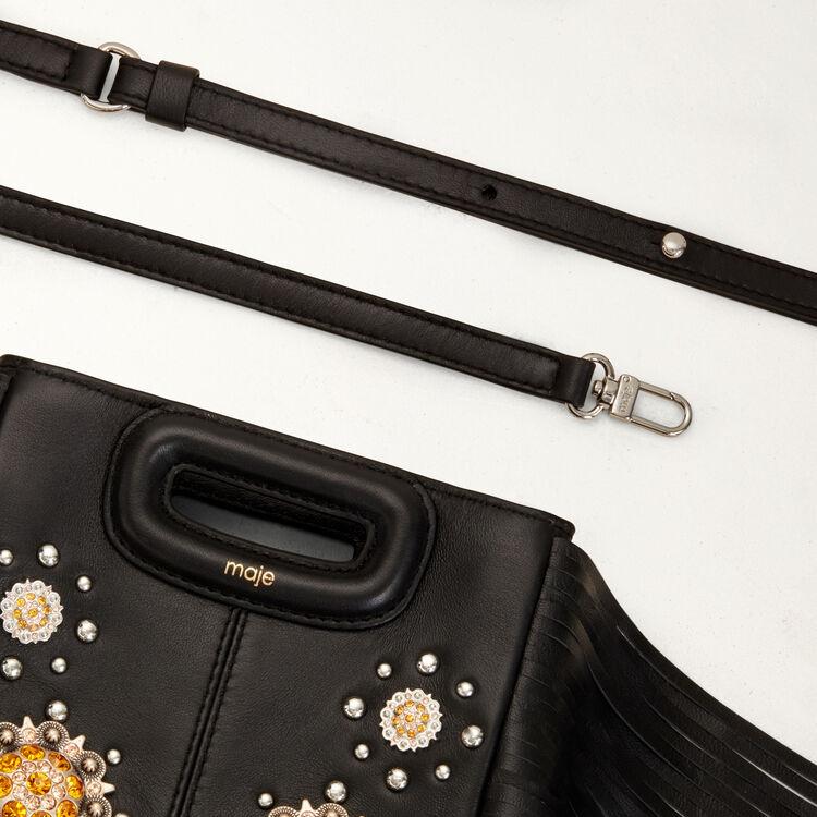 Mini M bag in leather with studs : M Mini color Black 210