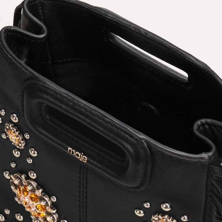 Mini M bag in leather with studs : M Mini color Black 210