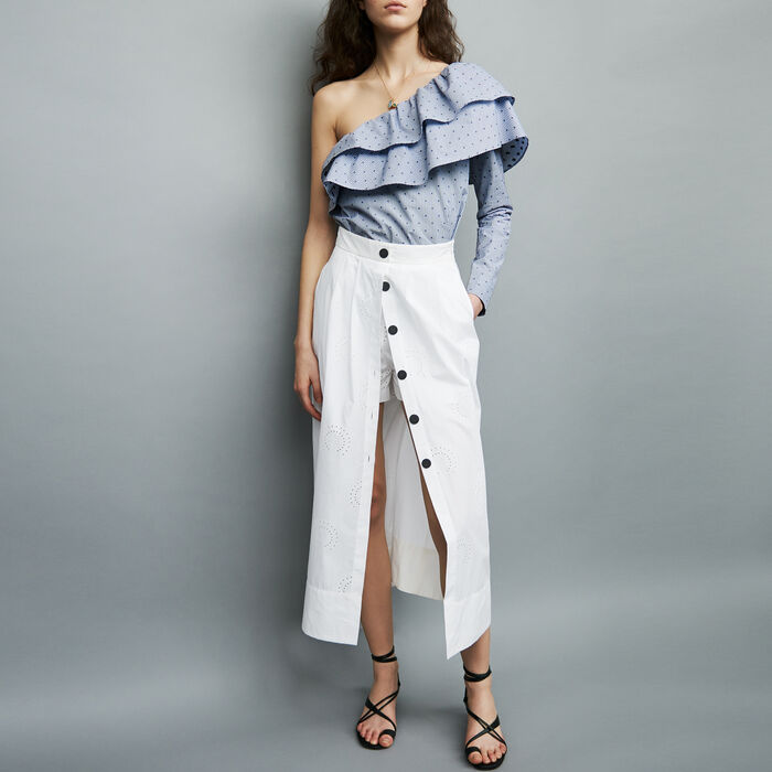 Long embroidered skirt : See all color White