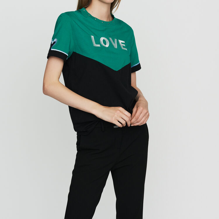 Bicolor cotton embroidered T-shirt : Ready to wear color Multico