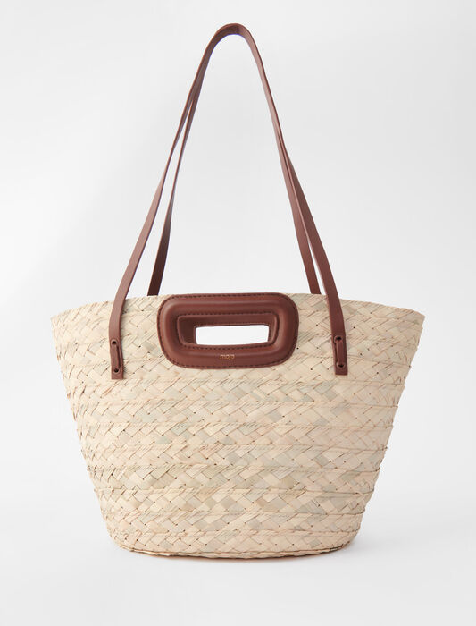 Basket bag in palm and leather : All bags color Caramel