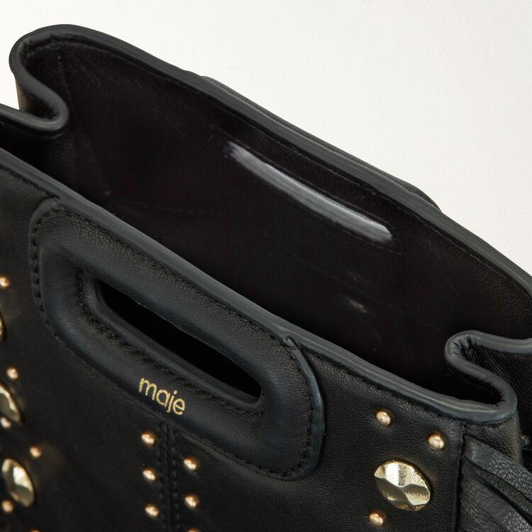 Mini M bag in leather with studs : M Mini color Black