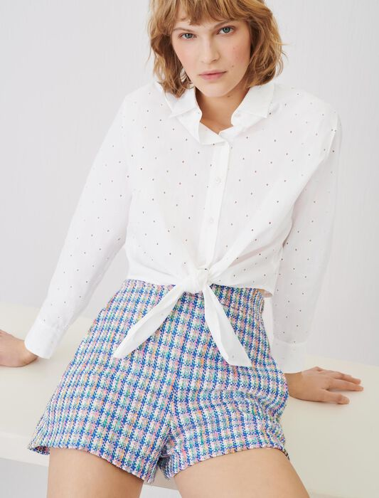 Tie shirt in embroidered poplin : Tops & Shirts color White
