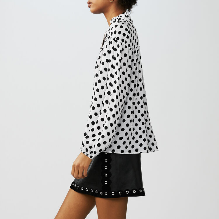 Printed polka dot top : Tops color Two-Tone