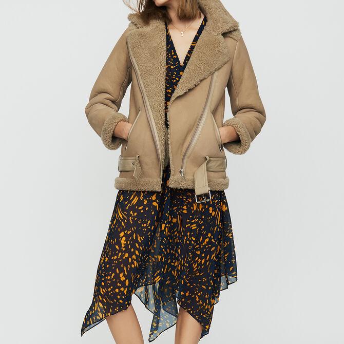 Biker jacket in shearling - See all - MAJE