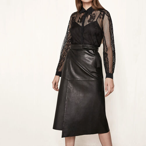 Leather wraparound skirt : Skirts & Shorts color Black 210