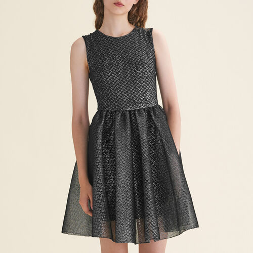Tulle and Lurex sleeveless dress - Dresses - MAJE