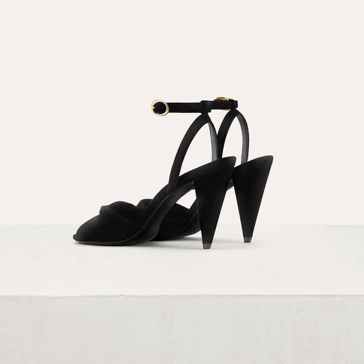 Leather high heals sandals : Slipper color Black 210
