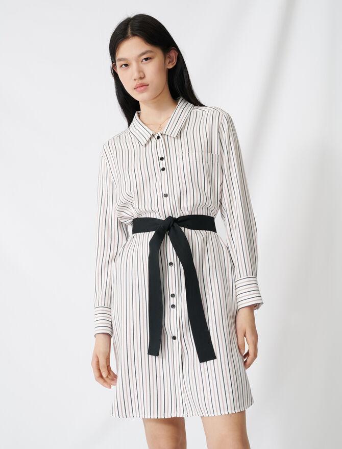 Belted pinstriped shirt dress - Dresses - MAJE