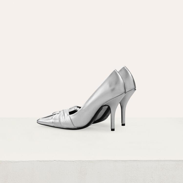 Draped pumps in silver leather : Slipper color Silver