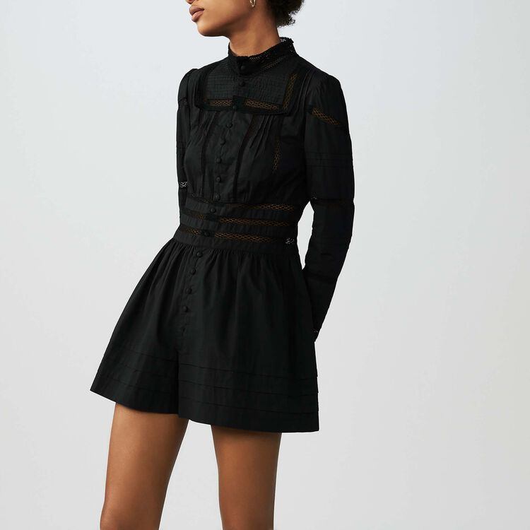 Embroidered cotton poplin romper : Skirts & Shorts color Black 210