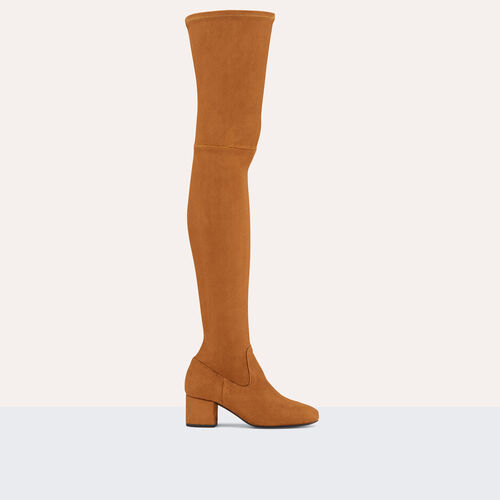 Flat suede calfskin thigh boots : Accessories color Black 210
