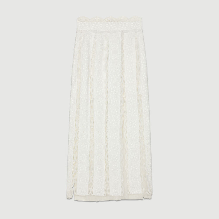 Long Swiss-dot skirt with embroideries : Skirts & Shorts color White