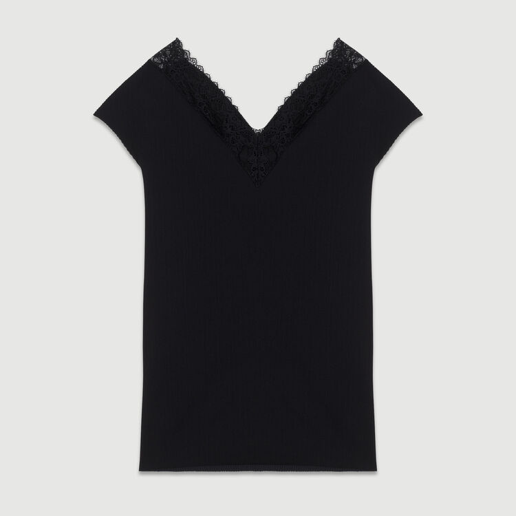 Pleated top with lace : Ready to wear color Black 210