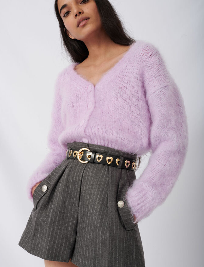 Mohair cardigan with covered buttons - Knitwear - MAJE
