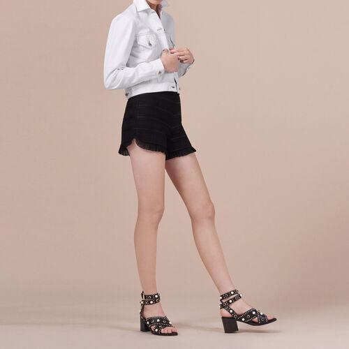 Flounced high-waisted shorts : Skirts & Shorts color Black 210