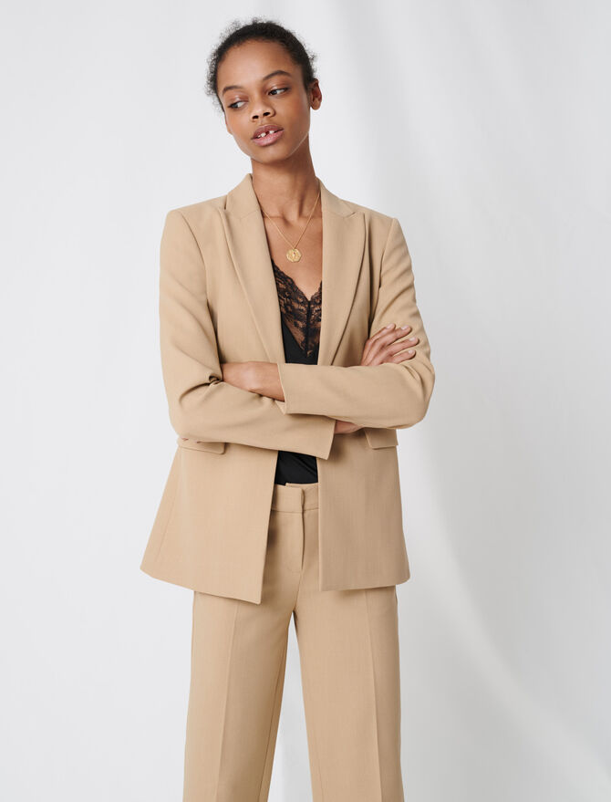 Nude fitted tailored jacket - Blazers - MAJE