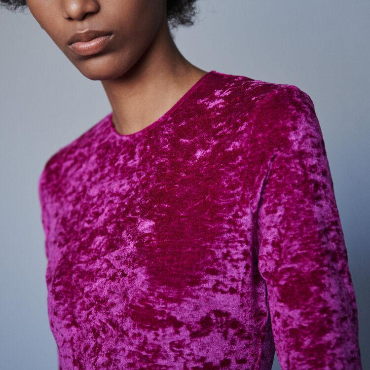Crushed velvet bodysuit : T-Shirts color Pink