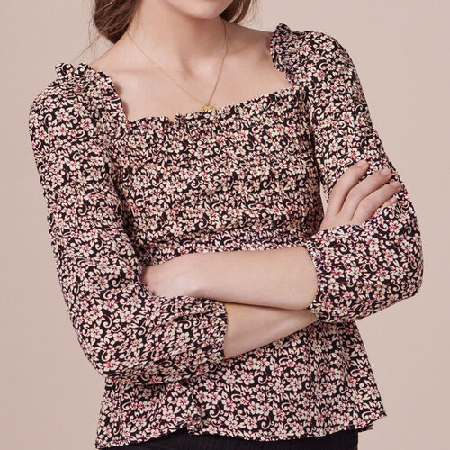 Long-sleeved printed top - Tops - MAJE