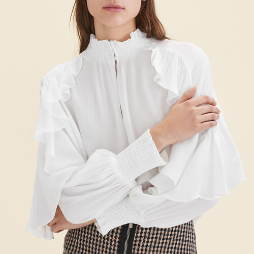 Floaty frilled blouse  : Tops color Ecru