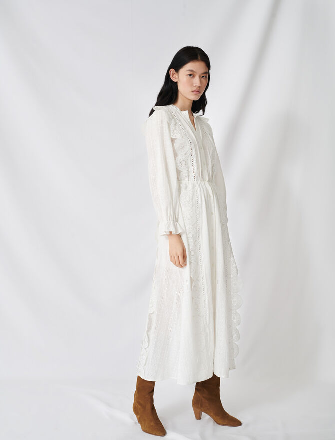 Cotton dress with broderie anglaise -  - MAJE