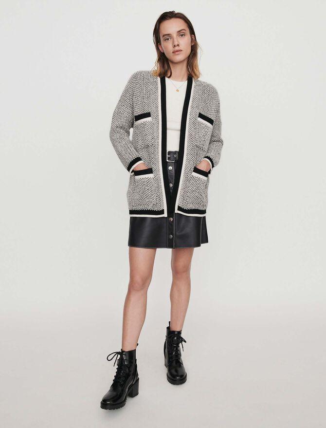 Cardigan with contrast stripes - Knitwear - MAJE