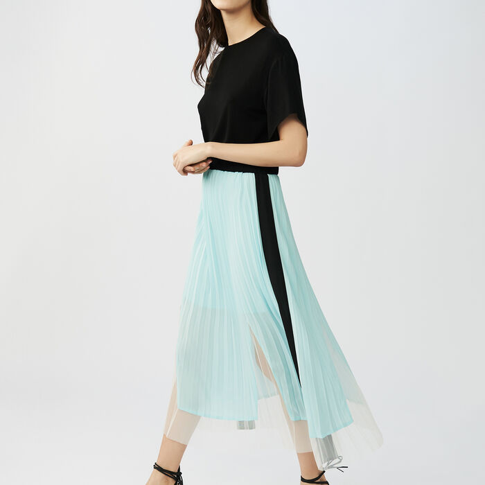 Pleated two-tone dress : Dresses color Black 210
