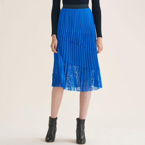 Pleated skirt with lace : See all color Blue
