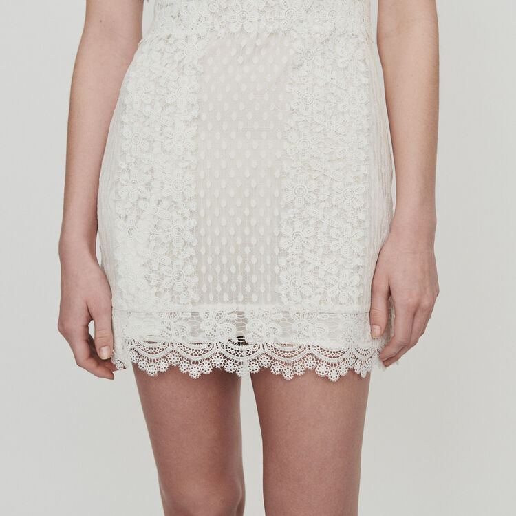 Short Swiss dot dress with daisy lace : Dresses color White