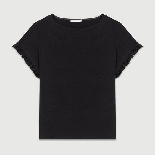 Oversized top with flounce detail : T-Shirts color Black 210