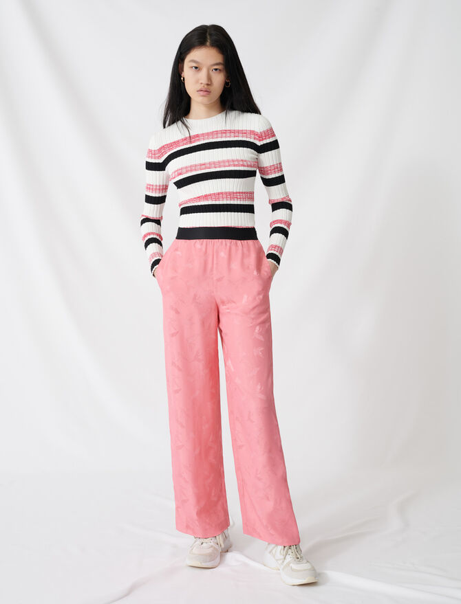 Satiny jacquard palazzo trousers - Trousers & Jeans - MAJE