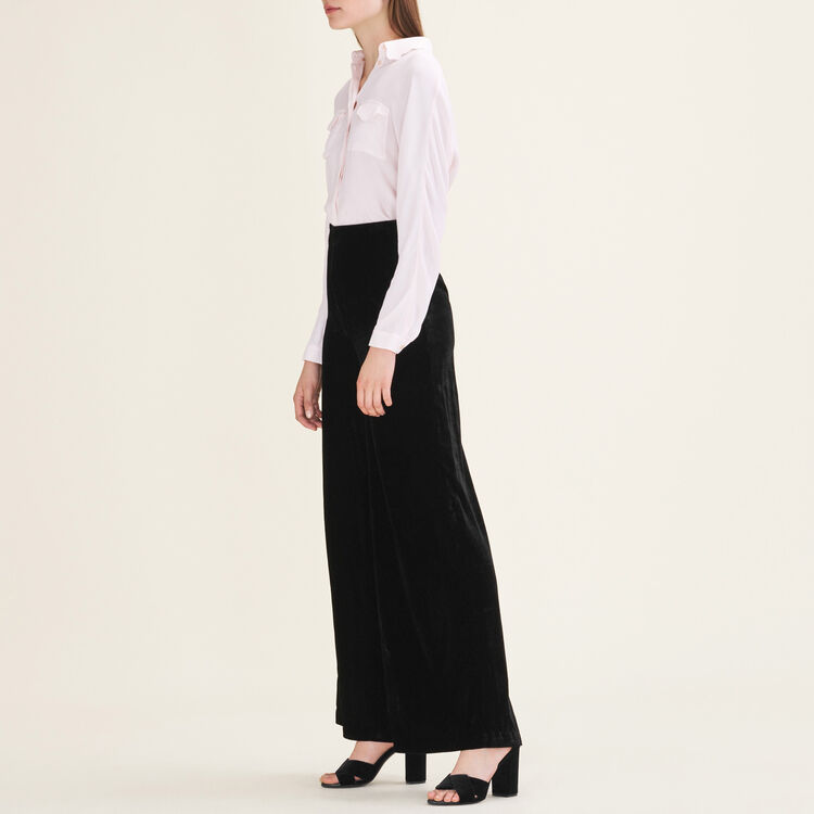 Wide-leg velvet trousers : Trousers & Jeans color Black 210