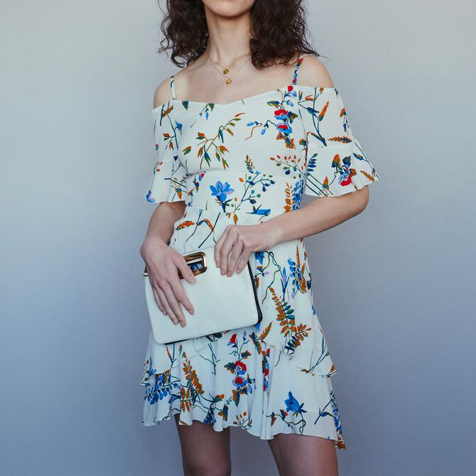 Short printed dress with bare shoulders - See all - MAJE