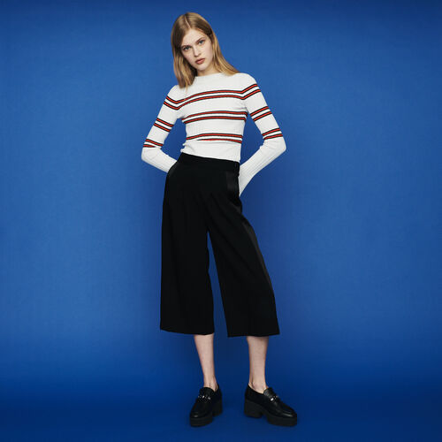 Large trousers in crepe : Trousers color Black 210