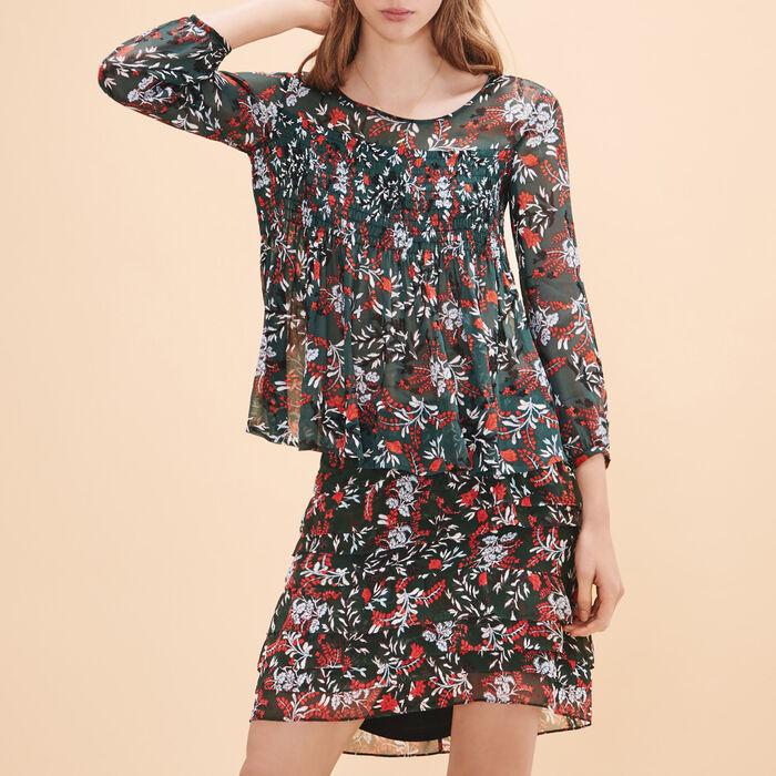 Short asymmetrical printed skirt - FRILLED DETAILING - MAJE