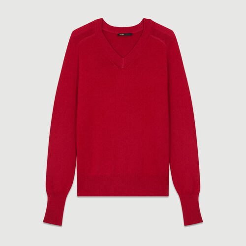 Oversized wool-cashmere sweater : Burgundy color Raspberry