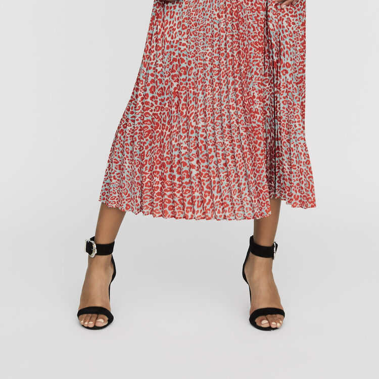 Long pleated dress in leopard print : Ready to wear color PRINTED