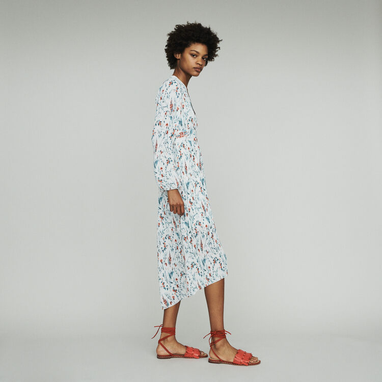 Long printed dress with pleated jewel : Dresses color PRINTED