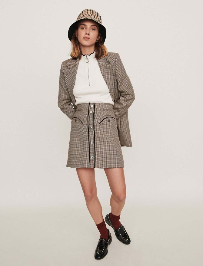 Plaid pencil skirt -  - MAJE