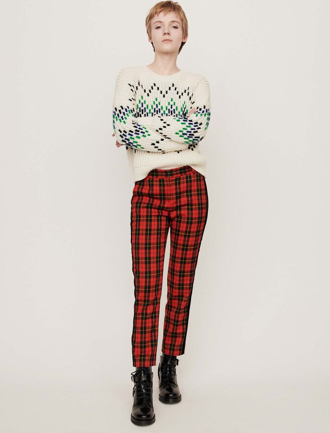 Velvet piped plaid pants - Présoldes-Pantalons-BE - MAJE