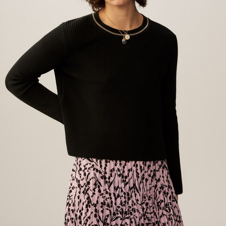 Fine-knit cotton blend sweater : Knitwear color Black 210