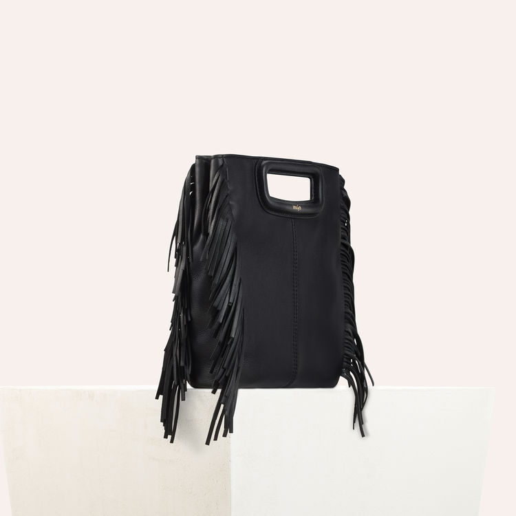 M bag with leather fringes : M bag color Black 210
