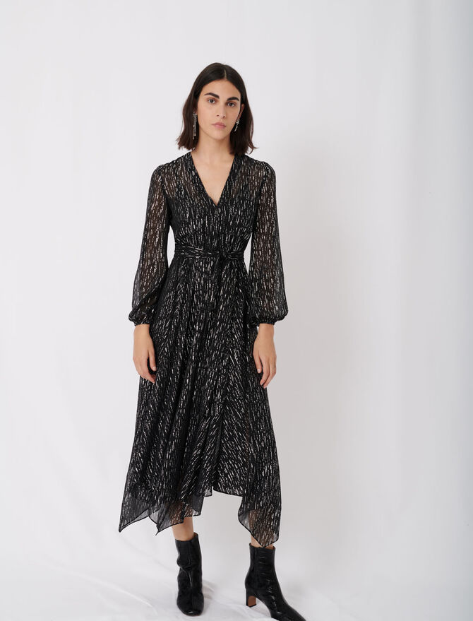 Belted muslin dress with scarf print - New collection - MAJE