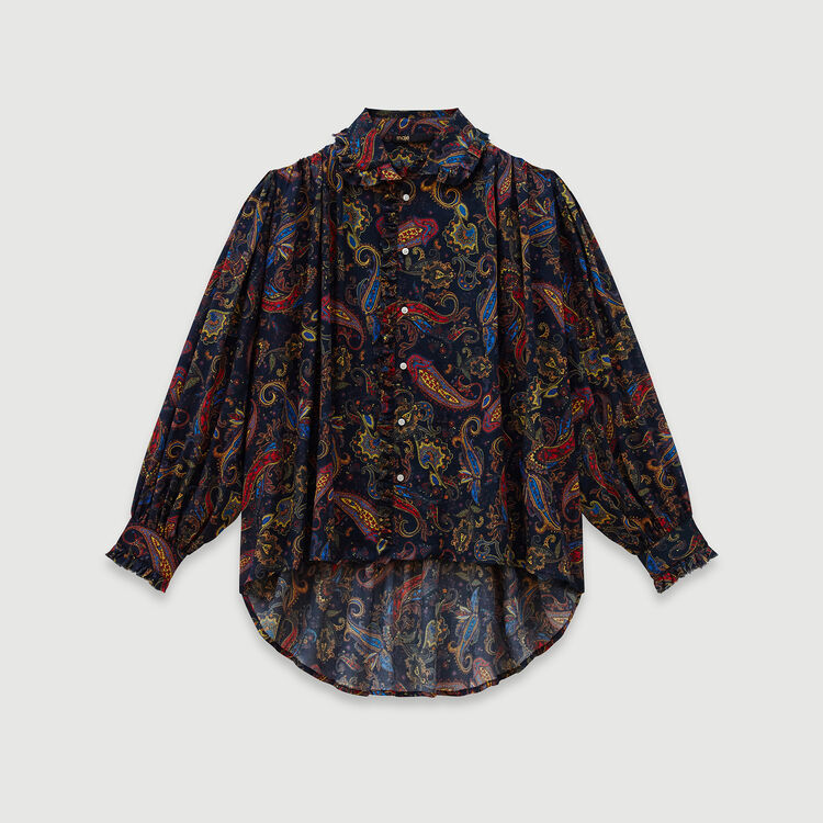 Printed cotton shirt : Tops & Shirts color Navy