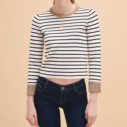 Breton knitted jumper : Sweaters & Cardigans color Ecru