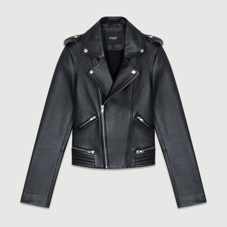 Leather jacket : Leather color Black 210