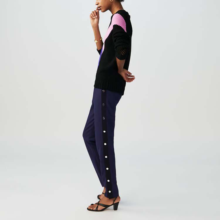 Crepe pants with snap buttons : Trousers color Navy
