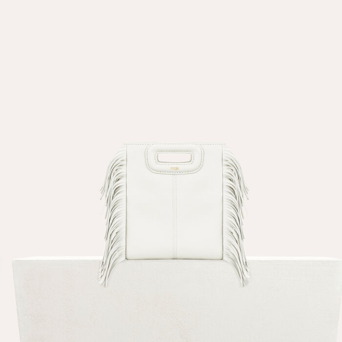Fringed leather M minibag : Summer collection color White