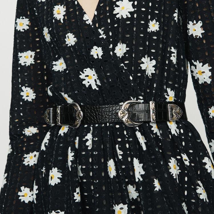 Double-buckle belt in crocodile : Belts color Black 210